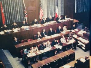 An image on display of the judges in the court room