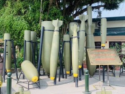 Outside the Vietnam Military museum. You can see a collection of missiles here.