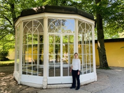 A photo of me standing outside the Sound of Music Gazebo.  We stopped here on our Sound of Music tour