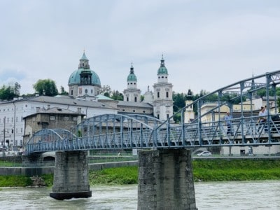The Mozart Bridge in Salzburg spanning the Salzach river.  We passed by this on our Salzburg sightseeing tour