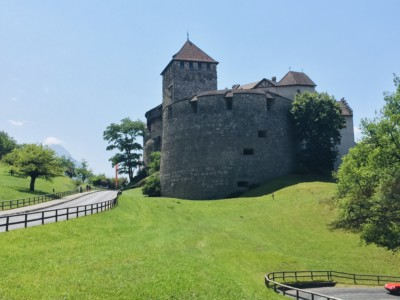 Image of Vaduz Castle at the end of the pathway after walking from the city centre