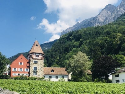 Scene of beautiful Liechtenstein with the Red House