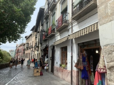The Carrera del Darro - this is a cobbled street with small shops along the side