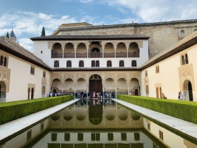 The Patio de los Arrayanes with water and hedges