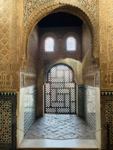 A beautiful alcove in the Salon de los Embajores - it has patterned sides and windows and is deep.  The design is Moorrish