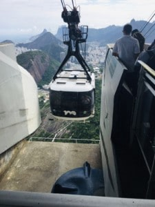 Picture of the cable car on Sugarloaf Mountain in Rio coming into one of its stops
