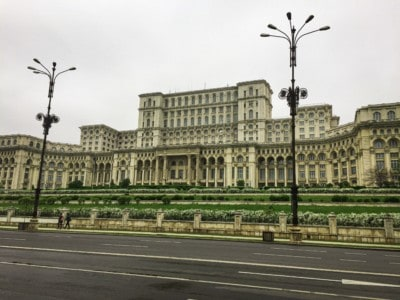An image of the People's Palace in Bucharest