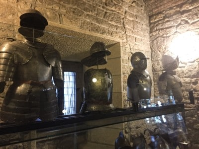Inside the weapons museum - you can see some armour displayed here behind glass panels