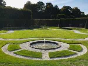 Part of the Grosser Garten in the Royal Gardens of Herrenhausen.  You can see a circular geometric pattern cut into the lawn with a small fountain in the middle