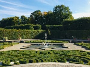 Part of the Grosser Garten in the Royal Gardens of Herrenhausen.  You can see a swirling geometric patterns cut into the lawn with a small fountain in the middle