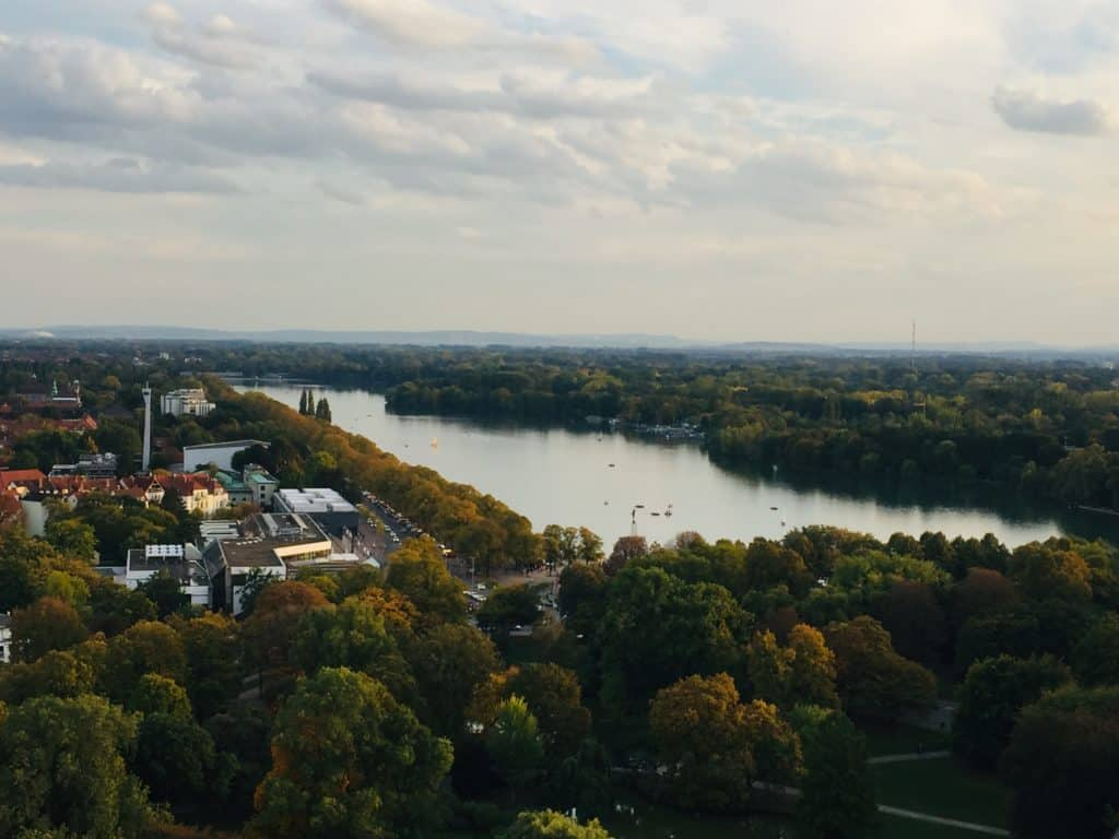 A view of the Maschsee man-made lake from up high.  It's completely surrounded by forest.