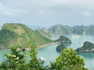 A view over part of Vietnam's Hal Long Bay.  You can see the limestone islands in the water and cruise ships floating between them