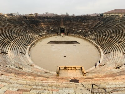 Inside the amphitheatre - you can see the open circle in the middle and the raked seating around it