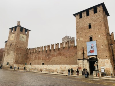 The Castelvecchio - a castle.  Here you can see the two square towers at either end of it