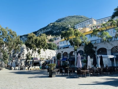 Picture of Casemates square in Gibraltar with some outdoor cafes trees