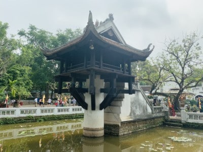 The One Pillar Pagoda in the Ho Chi Minh complex.  You see the pagoda being held up by a broad white pillar and sitting in a small lake that has lillies in it.
