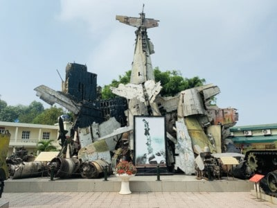 Outside the Vietnam Military museum.  You can see a collection of the wreckage of war here - bombs, planes etc.