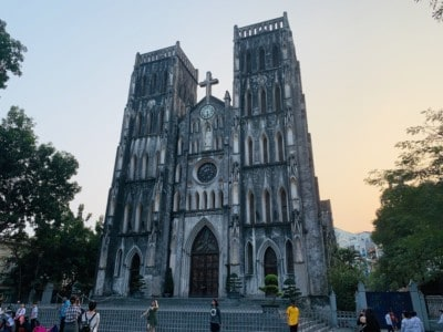 St Joseph's Cathedral in Hanoi.  You can see the sun setting behind this.