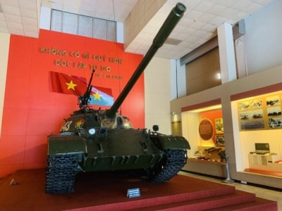 Inside the Vietnam Military museum.  This is a picture of a tank.