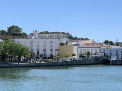 A view of Tavira across the water - you can see the whitewashed buildings and the river in front