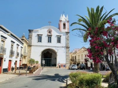 The pretty church in Tavira's Praca Dr Antonio Padhina square