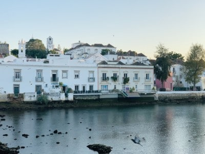 View from the bridge in Tavira at sunset