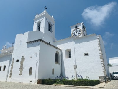 Tavira's Igeja de Santa Maria do Castelo church, lovely whitewashed building