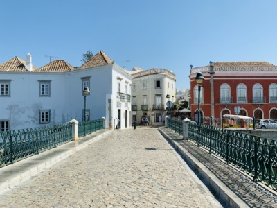 View at one end of Tavira's Roman Bridge