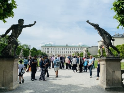 Dual statues at each side of the entrance to the Mirabell Palace and Gardens.  We visited at the end of our Sound of Music tour