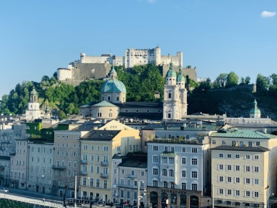 View of the castle on the hill in Salzburg that we saw on our Sound of Music tour