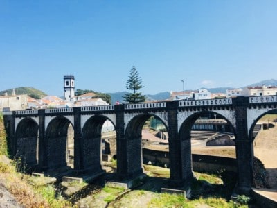 The black and white arched bridge in Rebeira Grande