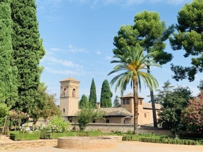 Part of the Generalife gardens - tress, bushes and a building in the background