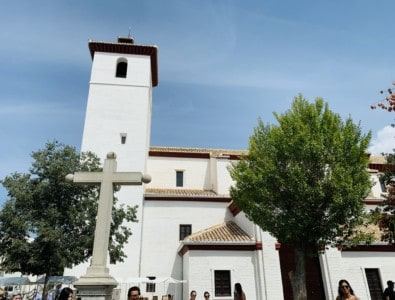 St. Nicholas' Church in Albaicin - this is a pretty whitewashed church on the hill.  It has a hill and cross in front of it