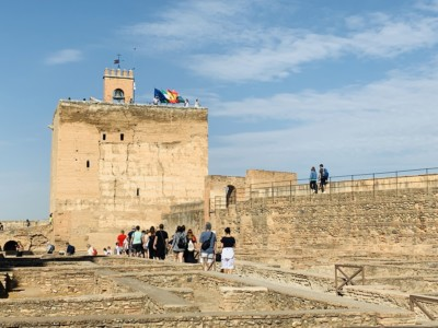 The Torre de la Vela in the Alcazaba - it sits at the end of the military living quarters and has flags flying from the top