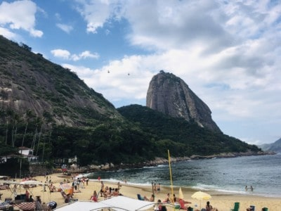 A picture of the beach near the station for the cable car to go up Sugarloaf Mountain - you can see the mountain from here