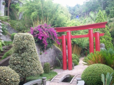 A Japanese torri gate in the Monte tropical garden - this is surrounded by green bushes and plants