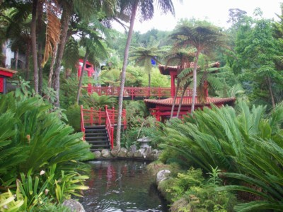 The Japanese part of the Monte Palace tropical garden.  This has a small red temple and red walkway which leads down to a small stream