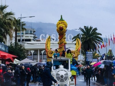 A float at the festival in 2018.  The casino is in the background