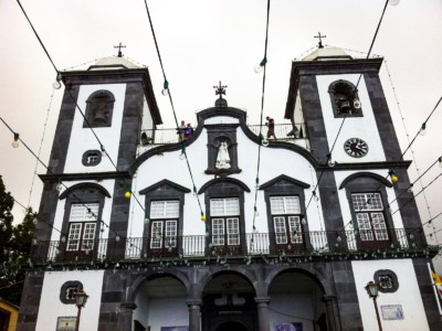 The Nossa Senhora do Monte church in Monte - this is black and white.  You can see people on a balcony on the top