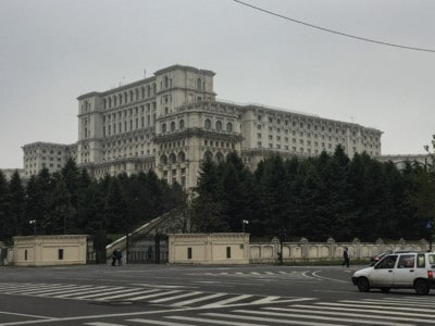 View of the Palace from the road.  This is a Bucharest Attraction to put on your list