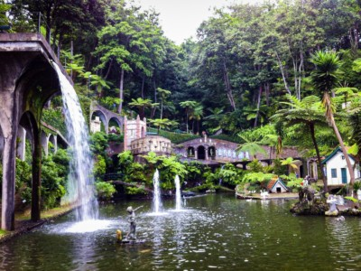Swan Lake in The Monte Palace tropical Garden.  It is surrounded by tropical plants and a waterfall is plunging into the lake
