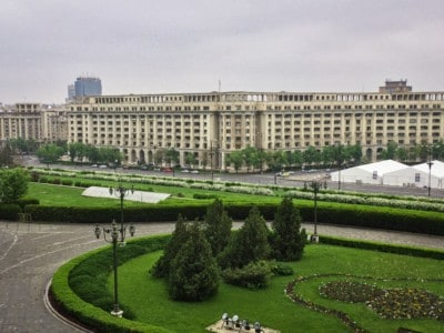 The Palace of the Parliament/People's Palace, a Bucharest attraction.  You can see the neat and tidy lawns in front it