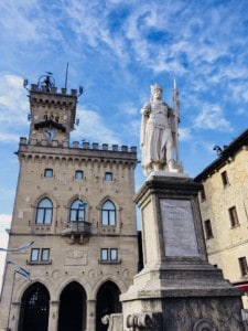 You can see the Public Palace in the Piazza de Liberta - a statue is in front