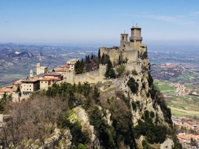 View of the citadel in San Marino high on the top of a craggy rock