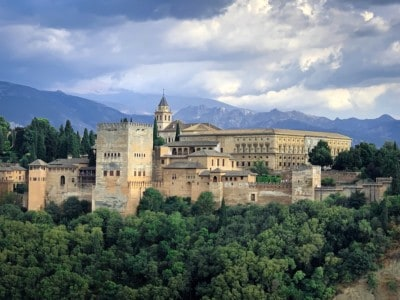 The Alhambra set high on the hill with trees and bushes below.
