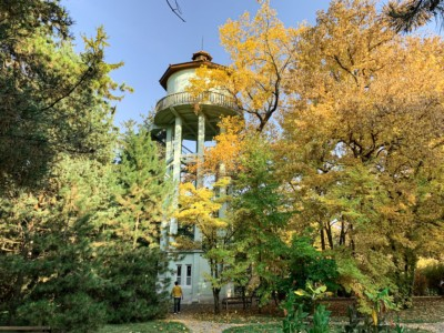 The tower in the botanic garden in Cluj.  This is framed with autumnal trees