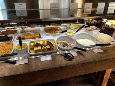 This is another image of the buffet at Haus Hiltl.  This is the desert section with cakes, yoghurt, crumble etc