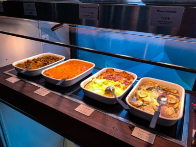 Some of the hot food in dishes - potato gratin, pasta etc