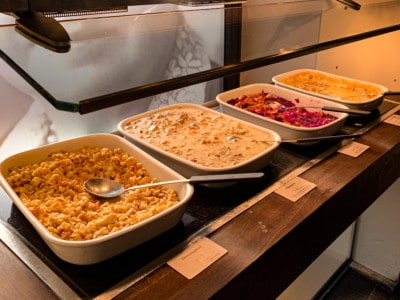 More of the trays of hot food that we sampled during our brunch in Zurich.  This includes more local and Swiss specialties, such as spaetzle