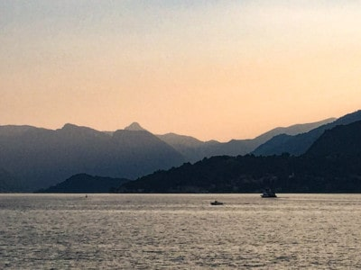 Sunset on Lake Como.  You can see the sun setting across the lake and over the mountains in the background